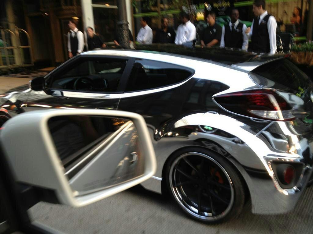 2013 Hyundai Veloster Turbo Custom Chrome Wheels Spotted In Chicago